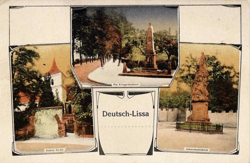 1 Deutsch - Lissa. Kathol. Kirche, Am Kriegerdenkmal, Johannesdenkmal.