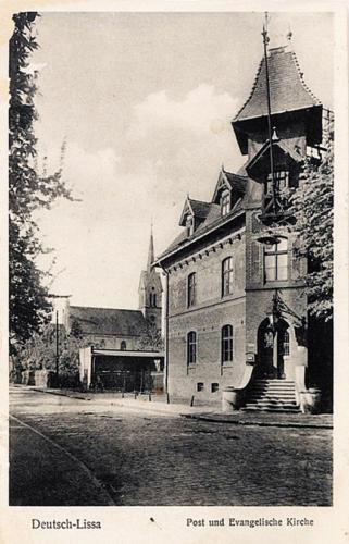 17 Deustch-Lissa. Post und Evangelische Kirche.
