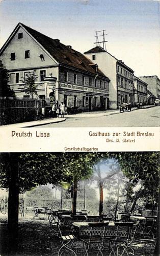 27 Deutsch Lissa. Gasthaus zur Stadt Breslau. Bes. B. Glatzel. Gesellschaftgarten.